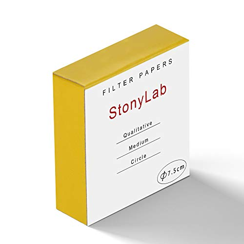 StonyLab Qualitative Filter Paper Circles, 75mm Diameter Cellulose Filter Paper with 20 Micron Particle Retention Medium Filtration Speed, Pack of 100