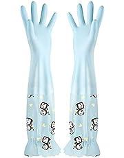 xingguang Silikonhandskar 1 par kök elastiska rengöringshandskar långa ärmar med sammet varma handskar hushåll vattentäta diskhandskar rengöring