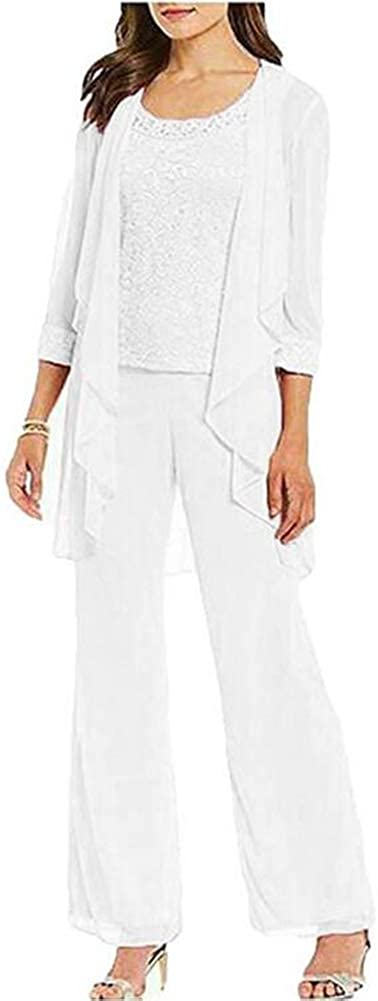 Women's Lace 3 Pieces Mother of The Bride Pantsuits Outfits Plus Size Evening Gowns