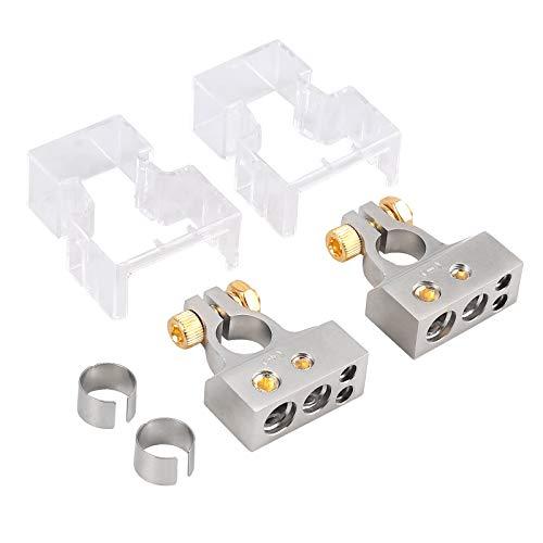 AUTOUTLET Kit Connettori Terminali per Batterie Auto, 2/4/8/10 AWG Sezione positivo e negativo della batteria Terminale morsetto e spessori (coppia) +/- Batteria Terminali