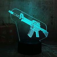 新しい男の子クール3D LedナイトライトサブマシンガンM416ボーイギフト7色変更バッテリーデスクランプクリスマスギフト