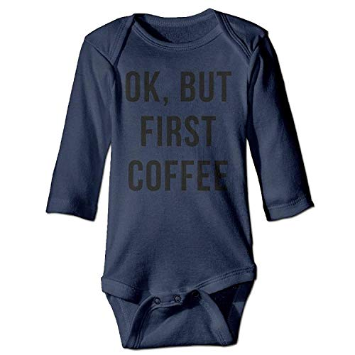 MSGDF Unisex Toddler Bodysuits OK But First Coffee Baby Babysuit Long Sleeve Jumpsuit Sunsuit Outfit Navy