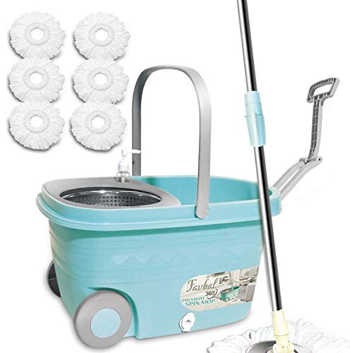 Spin Mop Bucket Floor Cleaning - Favbal Mop and Bucket with Wringer Set Spinning Mopping Buckets Cleaning Supplies with 6 Replacement Refills,61' Extended Handle for Home Hardwood Floors Tiles