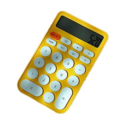 LYUN calcolatrice Calcolatrice A 12 Cifre Scrivania Calcolatrice Candy Colors Grandi Pulsanti Desktop Calcolator per La Scuola Home Elettronica Regalo calcolatrice di Base (Color : Yellow)