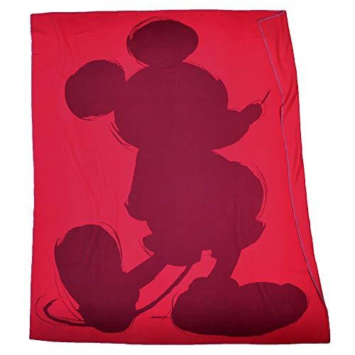 'Mickey' Soft Mouse – Fleece-Decke mit Vintage Disney Motiv – hochwertige Kuscheldecke – 160x200cm – 355 geranium – von 'zoeppritz since 1828'