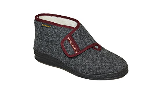 Intermax - Zapatillas de andar por casa para Mujer, forma de Botas con tira de cierre, lana virgen, de fieltro, color gris Antracita, color Negro, talla 41 EU