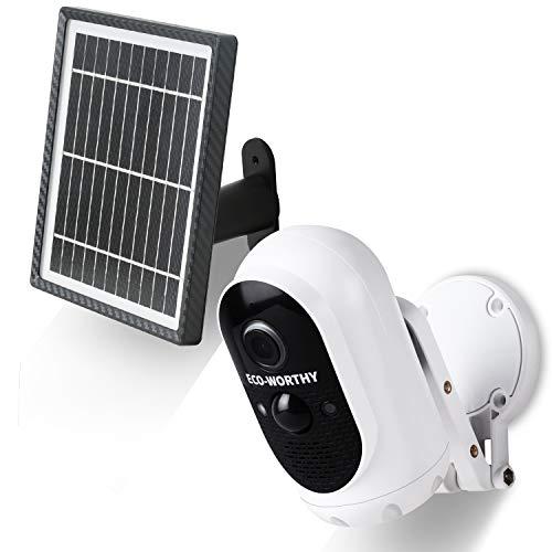 ECO-WORTHY Cámara de Seguridad Solar Inalámbrica con Batería Recargable, Detección de Movimiento PIR 1080P Vista de 120 °,Audio Bidireccional, Alerta en Tiempo Real para la Seguridad del Hogar