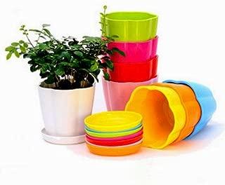 Mecai 4 inch Plastic Flower Seedlings Nursery Pot/Planter/Flower Pot with Pallet 10 Colors,All
