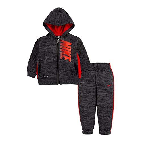 Nike Boy`s Therma Fleece Full Zip Hoodie & Jogger Pants 2 Piece Set (Red(86f417-k08)/Heather Black, 4)