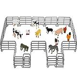 12 Figuras de Animales de Granja con 18 Vallas Juego de Animales de Granja Realistas Figuras de Juguetes de Caballos Accesorios de Panel de Valla para Cumpleaños Navidad Fiesta de Granja