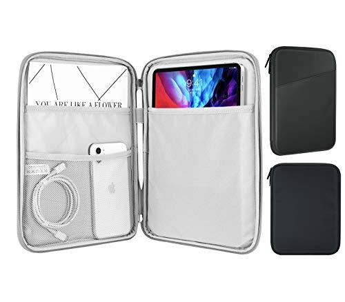 MoKo 9-11 Zoll Tablet Tasche, Polyesterfaser Tablet Schutzhülle mit Seitentasche Innentasche Sleeve Hülle Kompatibel mit iPad Pro 11 2021/2020/2018iPad 8./7. Gen 10.2/iPad Air 4 10.9, Dunkel Grau
