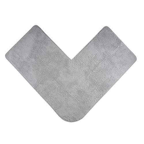 Badteppich für Eckduschen, Hochflor aus Mikrofaser-Chenille, rutschfeste Unterseite (Grau)