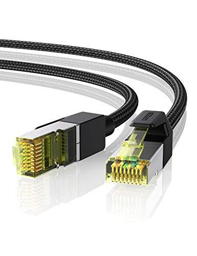 UGREEN Cat 7 Netzwerkkabel 10Gbits Ethernet Lan Kabel - Baumwollmantel 10000 Mbits High Speed Patchkabel - FTP Wlan Internetkabel mit RJ 45 Stecker für PS5/4/3, Switch, Modem, Router usw(15M)