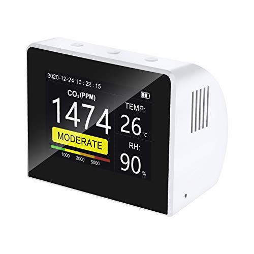 Elikliv Detector de CO2, Inteligente Medidor de Calidad del Aire 3-en-1 USB con Alta Precisión con 3,5'' Pantalla en Color con Sensor de Temperatura y Humedad para Interiores y Exteriores