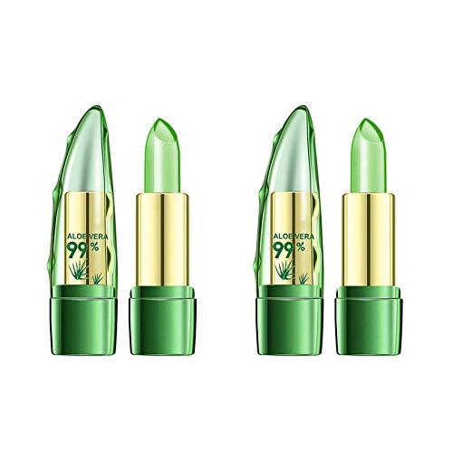 YCSD Aloe Vera Lipstick, 2pcs Magic Temperature Color Change Lipstick Moisturizing Long Lasting Lip Blam Aloe