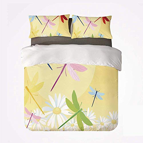 Zozun Duvet Cover Set Dragonfly Durable 3 Bedding Set,Flower Field in Spring Season with Chamomiles and Sun Figure on The Back Graphic Decorative for Indoor