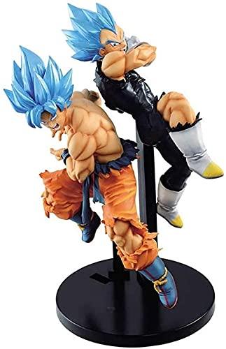 XIAOGING Blue Hair Goku Blue Hair Vegeta Modelo Figura Muñeca Decoración (Color: B) (Color: B)-Segundo