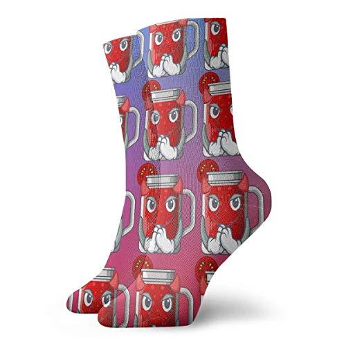 Grappige Crazy Crew Sock Duivel Lekkere Tomatensap Op Cartoon Tafel Gedrukt Sport Atletische Winter Warm Sokken 30 cm Lange Gepersonaliseerde Gift Sokken