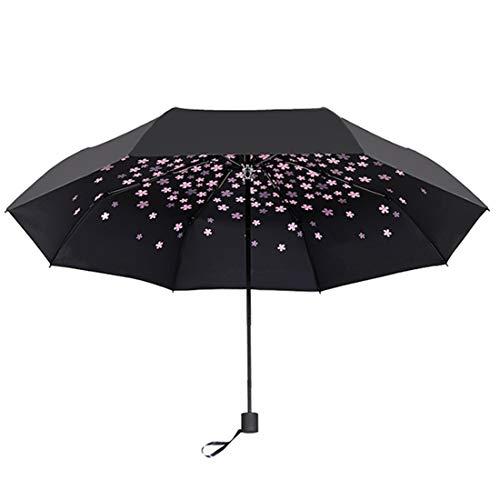 Dingziyue Exquisite Bedruckter Sonnenschirm, Schwarz, 3-Fach Faltbarer Regenschirm, UV-Schutz, Winddicht, tragbar, Rose (Pink) - dingziyue
