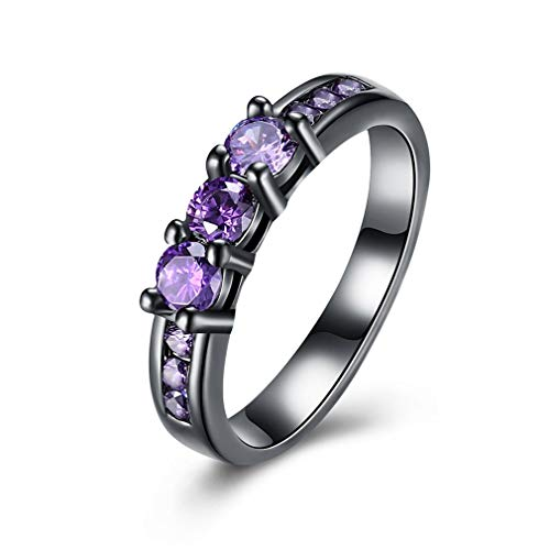 Exquise vrouwen Ring paarse Zircon klassieke Prom trouwring Prong instelling charme vinger Ring verlovingsring JewelryPurple