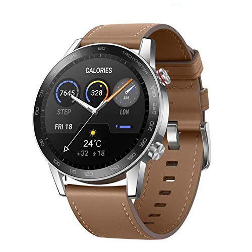 HONOR Smartwatch Magic Watch 2, 46 mm Fitness Tracker Armband, Amoled Touchscreen, GPS, Fitness Armbanduhr, Herzfrequenzmessung, 5 ATM wasserdicht,Braun