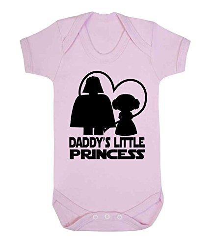 """Pijama / body con texto """"Daddy's Little Princess"""", diseño de La guerra de las galaxias. Pale Pink Talla:6-12 meses"""