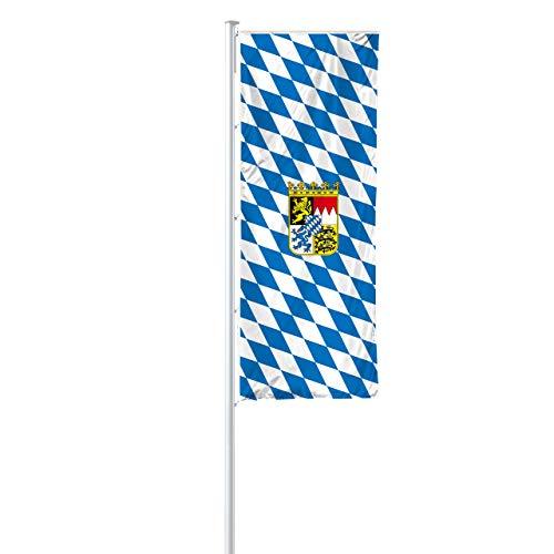 Vispronet® Bundesländerfahne 120x300 cm für Ausleger ✓ in Deutschland produziert ✓ versch. Materialien ✓ Hochformat (Multiflag®, Bayern -Raute mit Wappen)