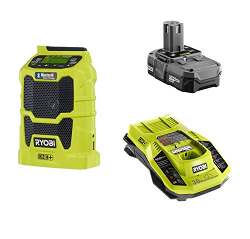 Ryobi 18 Volt Portable Jobsite Radio Kit with USB Port and Bluetooth - P742 + Battery + Charger, (Bulk Packaged, Non-Retail Packaging)