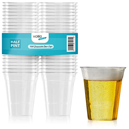 Vasos de Cerveza de Plástico Desechables para Pintas, Pimms y Alcohol en Plástico Transparente y Fuerte Vasos Tazas Transparentes (Media Pinta) (Paquete de 100)