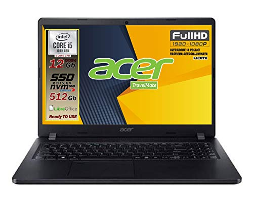 "Notebook Acer pc portatile SSD, Intel 4 Core i5 10210U fino a 4,2 Ghz, RAM 12GB, SSD M.2 PCi 512GB, Display 14"" Full HD, tastiera retroilluminata, 3 usb, wi-fi, hdmi, lan Win 10 pro, pronto all'uso"