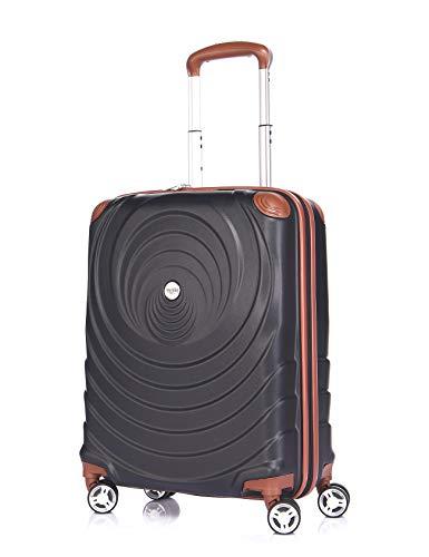 Verage Spiral ABS Hartschale Trolley S-19 Zoll-54L (55x38x20 cm) Händgepack in Schwarz, 4x360 Grad Doppelrolle Reisekoffer, TSA integriert, erweiterbar