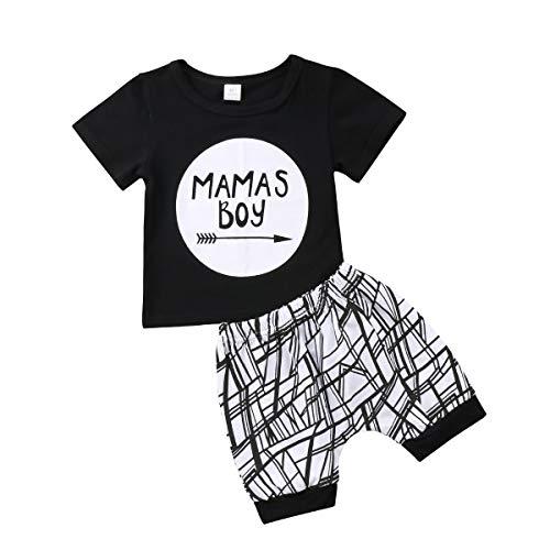 Frecoccialo Conjuntos Bebé Niño Verano Bebes Recién Nacidos Negro Camiseta Estampado Letras + Pantalones Cortes Rayas Niños Conjunto de Trajes de Bebé de 0-2 Años. (12-18 m)