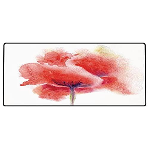 Alfombrilla de ratón para Juegos 600 x 300x3 mm,Flor de Acuarela, Flor de Amapola floreciente descolorada sobre Fondo Liso Impresión de Arte romá Base de Goma Antideslizante, Adecuada para Jugadores