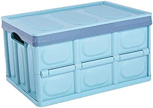 Clever Durable Collapsible Folding Stackable Plastic Crates Storage Container Basket Bins Box with Lids for Outdoor Picnic...