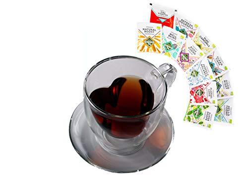 Bedida thee cadeauset: 350 ml dubbelwandige hartvorm - glass als probeer- en geschenkset, 350 ml dubbelwandige mok met hart binnen met thee of theebloemen