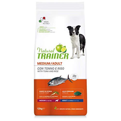 Natural Trainer - Cibo per Cani Medium Adult, Alimento Secco, Tonno e Riso, 12kg
