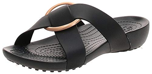 Crocs Serena Cross Band Slde W Pantoletten/Clogs Damen Schwarz - 33/34 - Pantoffel Shoes