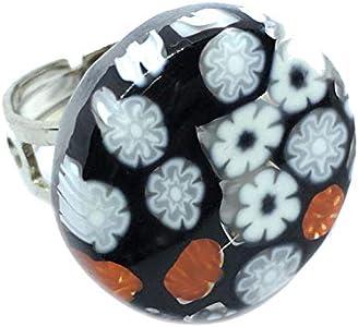 Joyería de cristal de Murano, anillo de cristal de Murano, fabricado con Millefiori, anillo grueso de 2,3 cm y ajustable, talla única, incluye caja de regalo y certificado
