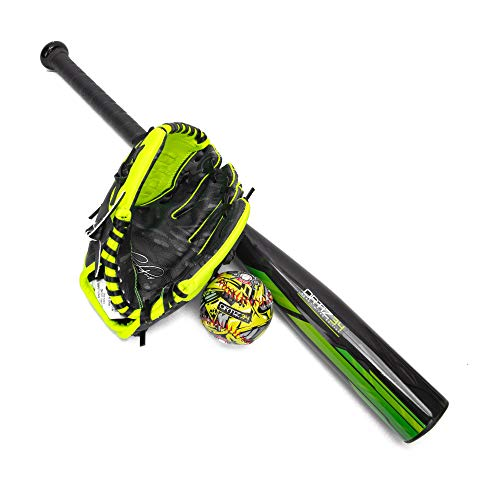 Ortiz34 Homerun Kids Tee Ball Set David Ortiz 3in1 Aluminum Baseball Bat Baseball amp Youth Baseball Glove Bundle Made for Youth/Kids Volt