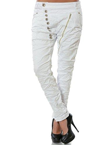 Daleus Damen Boyfriend Jeans Hose Reißverschluss Knopfleiste Stretch DA 14145 Farbe Weiß Größe M / 38