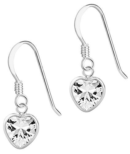 Hypoallergenic Sterling Silver 7mm CZ Heart Dangle Earrings for Kids (Nickel Free)