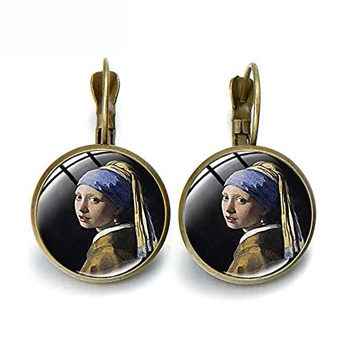 Vintage pintura al óleo chica usando perla colgante pendientes de aleación de bronce antiguo color artesanía imagen cristal cúpula pendientes