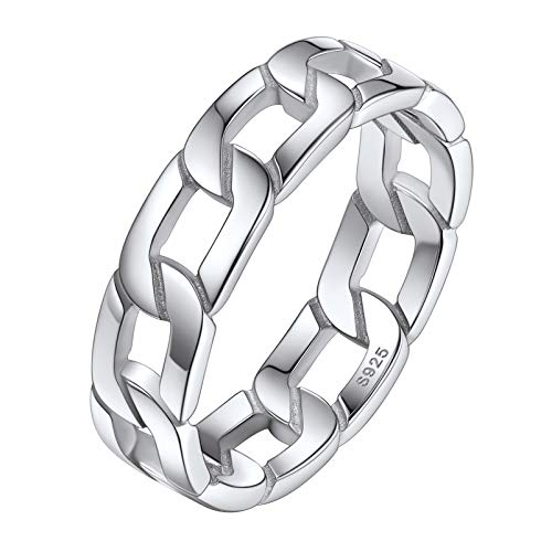 Silvora Women Link Chain Ring Sterling Silver Celtic Knot Rings for Male Vintage Jewelry with Delicate Packaging
