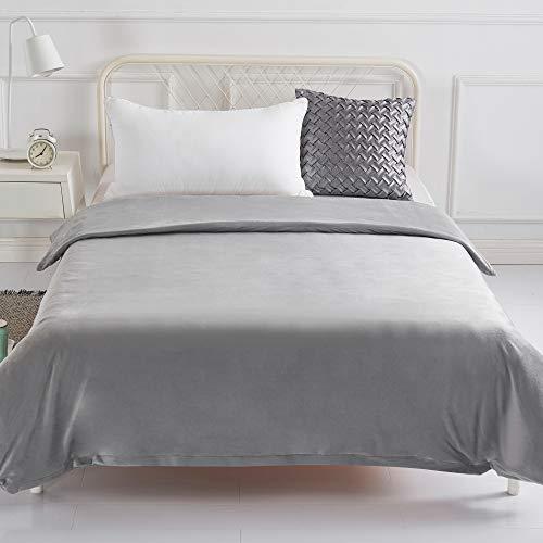 Abnehmbarer Bettdeckenbezug für Gewichtsdecken, NUR Bezug, Schlichte Bettwäsche, Ultraweich und Pflegeleicht - Grau 155 x 220 cm