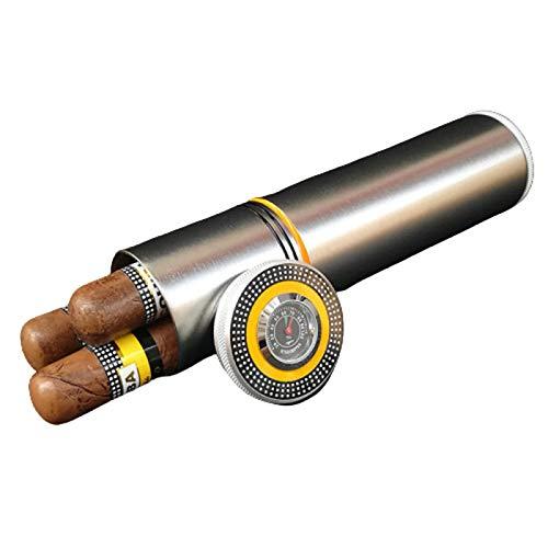 WSJMJ Cigarol Boîte à cigares, Etui à cigares portatif avec hygromètre - Portable Cuir Cigare Humidor avec Humidificateur,Argent