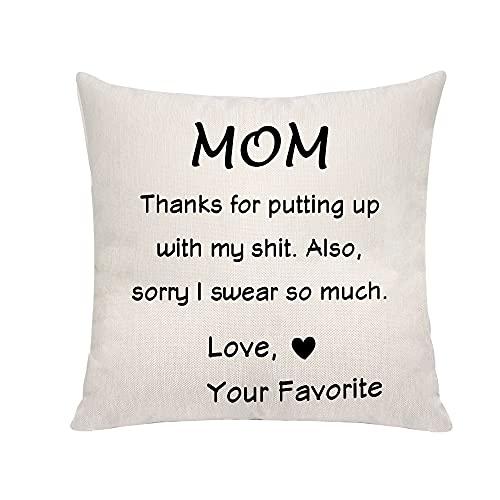 Novedad regalo para mamá de hija o hijo, gracias por poner encima con mi ropa de cama de fundas de almohada, fundas de cojín para sofá, silla, para el día de la madre, regalo de cumpleaños de Navidad