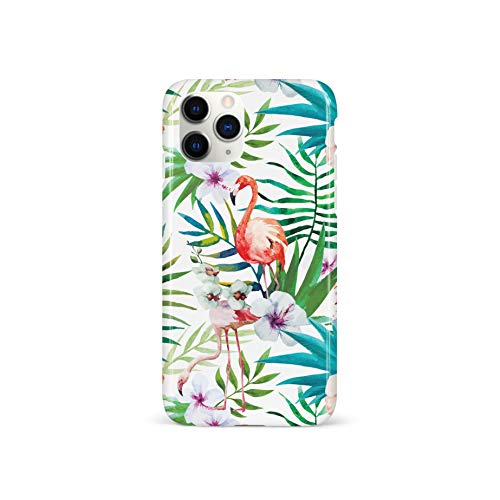 Wingcases for iPhone 11 Pro Case, Green Tropical Palm Leaves Pink Floral Coral Flamingo Design Soft Anti Fingerprint Phone Cover