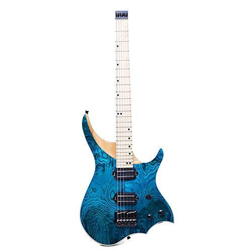 HUANH 24 trastes azul ASH madera sólida llama arce cuello diapasón guitarra...