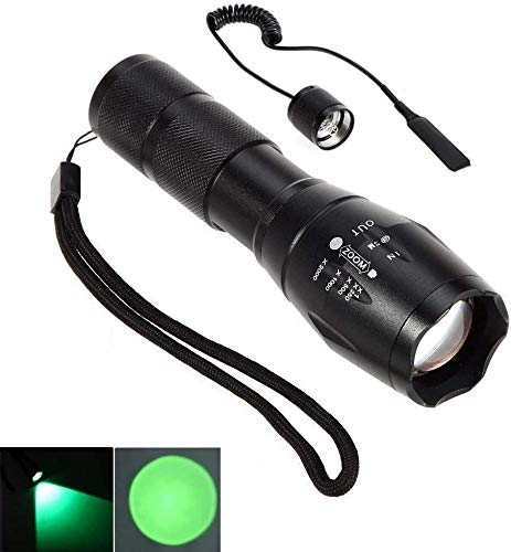 Red and Green Hunting Torch, 350 Yards Red Green LED Coyote Hog Predator Light with Pressure Switch & Scope Mount, Zoomable Green and Red Tactical Flashlight Torches for Night Hunt