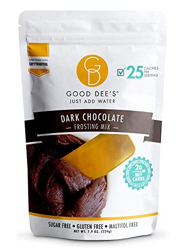 Good Dee's Just Add Water Dark Chocolate Frosting Mix - Low Carb Keto Frosting Mix (25 Calories, 2g Net Carb Per Serving) | Gluten-Free, Sugar-Free & Maltitol-Free | Diabetic, Atkins & WW Friendly